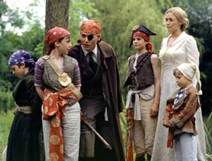 Avast me hearties... JM Barrie (Johnny Depp) with the Llewellyn-Davies family