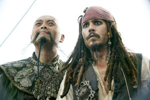 Chow Yun-Fat as Captain Sao-Feng and Johnny Depp as Captain Jack Sparrow