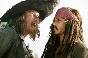 Geoffrey Rush as Captain Barbossa and Johnny Depp as Captain Jack Sparrow in Pirates of the Caribbean: At World's End