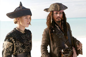 Keira Knightley as Elizabeth and Johnny Depp as Captain Jack Sparrow