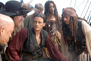 Orlando Bloom as Will Turner and Johnny Depp as Captain Jack Sparrow
