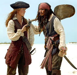 Elizabeth (Keira Knightley) confronts Captain Jack (Johnny Depp)