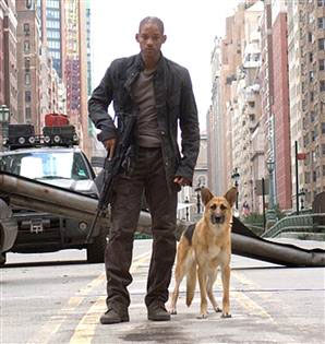 Will Smith and furry friend in I Am Legend
