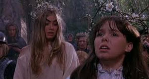Linda Hayden as Angel and Wendy Padbury as Cathy in The Blood on Satan's Claw