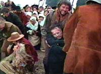 A witch is dragged to the gallows in Witchfinder General