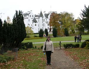 Emma outside Blair Castle