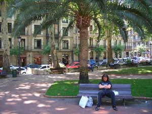 Ian relaxes in a peaceful square in Bilbao