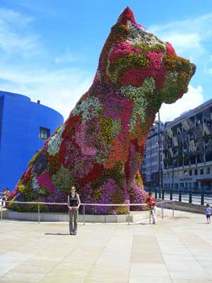 The giant flowery puppy outside the Guggenheim museum in Bilbao
