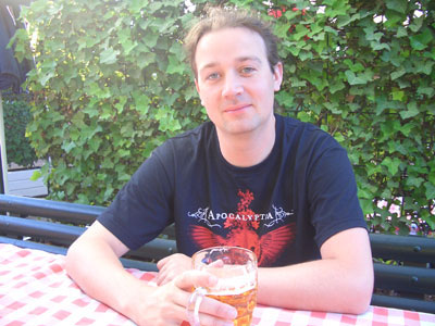 Ian enjoys a pint in the Tivoli Gardens