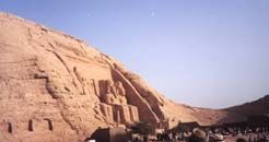 Our first glimpse of the Temple of Ramses at Abu Simbel
