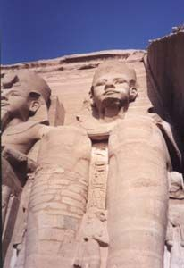 The might statues of Ramses outside his temple