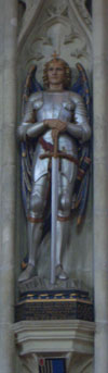 A statue of St Michael in Salisbury Cathedral
