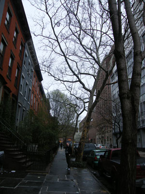 A rainy street in Greenwich Village