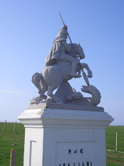 The statue of St George outside the Italian Chapel on Lamb Holm