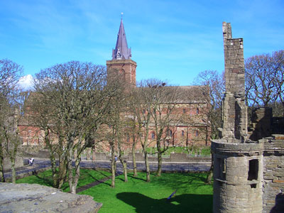 St Magnus Cathedral, Kirwall, viewed from the Earl's Palace