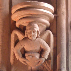 Carving of an angel carrying a heart at Rosslyn Chapel