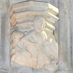 A carving of a Knight Templar at Rosslyn Chapel