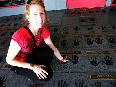 Me with Alice Cooper's handprints on the Guitar Centre Rock Walk of Fame