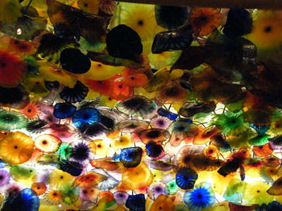 The glass ceiling in the reception at the Bellagio