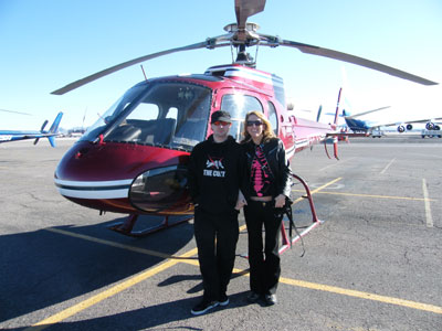 Ian and I in front of the helicopter