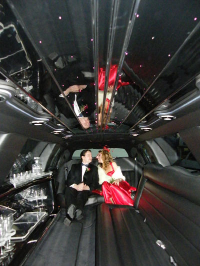 Inside our stretch limo