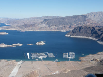 Aerial view of a marina in the middle of the Nevada desert