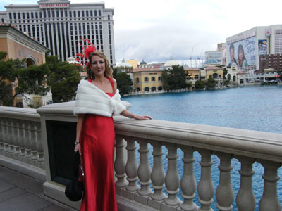 Me outside the Bellagio before our vow renewal service