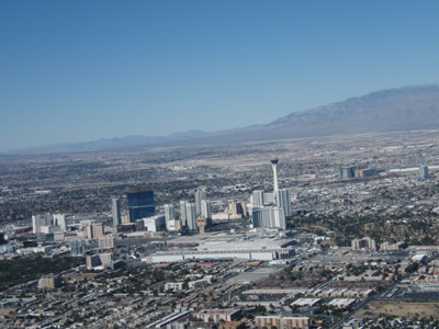Approaching Las Vegas by helicopter