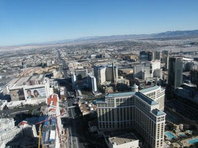 las vegas skyline. The Las Vegas Strip from above