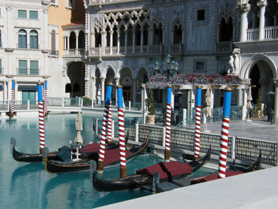 Gondolas outside the Venice hotel in Las Vegas