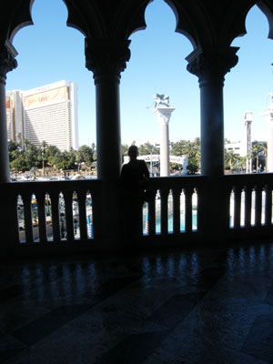 Inside Venice looking out towards the Mirage