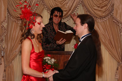 I now pronounce you... already married. Elvis takes our ceremony.