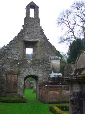 Inside the ruined chapel at Anwoth