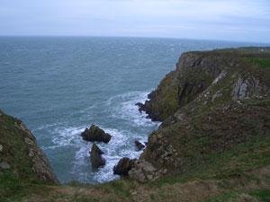 The rocks at the foot of the cliff at Burrow Head